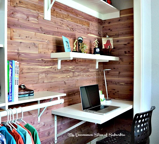 diy cedar planked closet with built in desk, closet, diy, organizing, storage ideas, woodworking projects