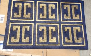 give a worn out rubber mat a new life with spray paint and stencil, crafts