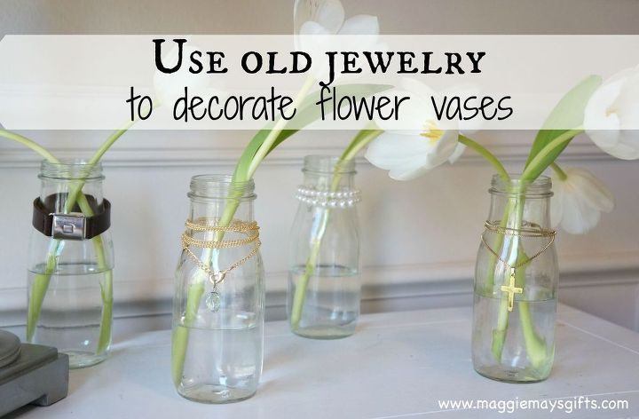 Use Old Or Broken Jewelry To Decorate Flower Vases Hometalk