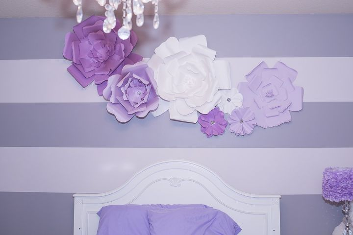 diy large paper flowers wall decor and above bed, crafts, how to, wall