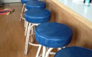 q painted stools for beach house, painted furniture, painting upholstered furniture, 5 painted swivel stools