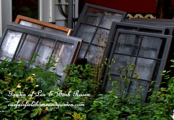 Old wooden windows for our greenhouse.