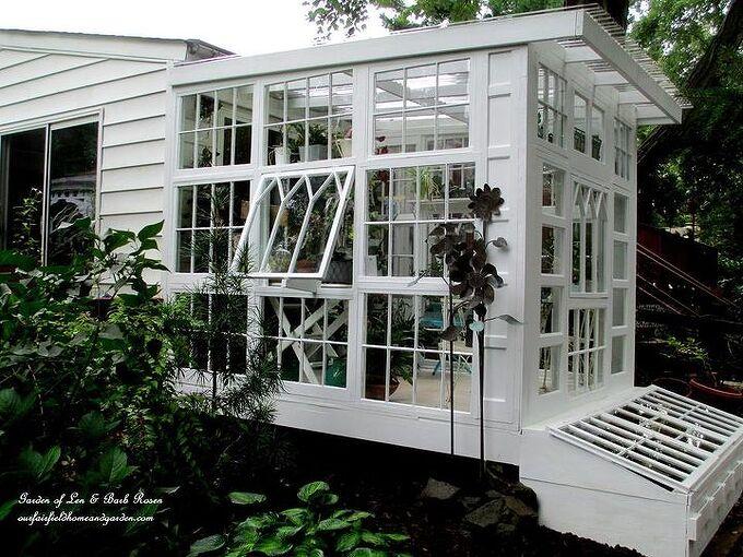 repurposed windows greenhouse, diy, gardening, home improvement, repurposing upcycling, woodworking projects, Exterior Repurposed Windows Greenhouse
