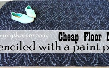 give a cheap floor mat a designer look with a paint pen, flooring, repurposing upcycling