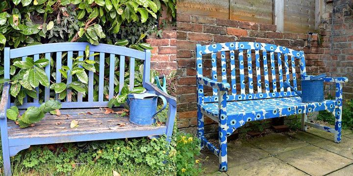 easy to make a marimekko bench using paper napkins decoupage outdoor furniture painted