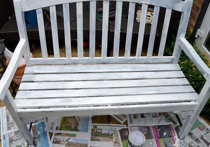 easy to make a marimekko bench using paper napkins, decoupage, outdoor furniture, painted furniture, repurposing upcycling