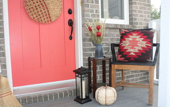 bringing fall to your front porch even with a pink door, curb appeal, doors, painted furniture, porches