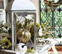fall lantern centerpiece, crafts, repurposing upcycling, seasonal holiday decor