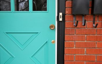 a diy turquoise front door, curb appeal, doors, paint colors, painting