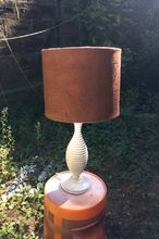 spray painting a faux suede lampshade, crafts, lighting, repurposing upcycling
