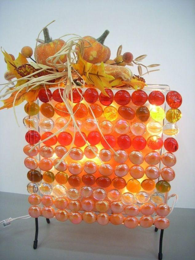 indian corn inspired glass block light, crafts