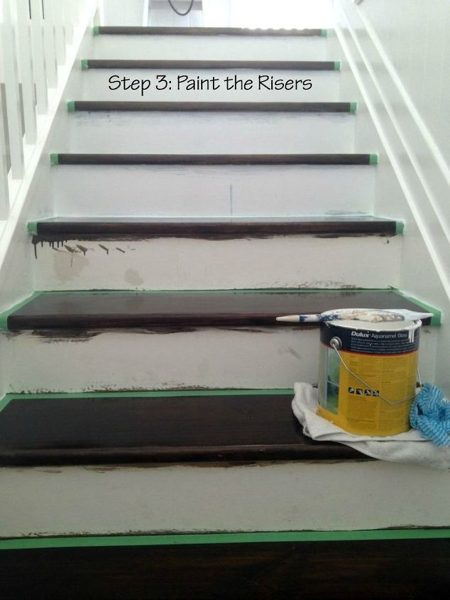 diy two tone staircase, diy, painting, stairs