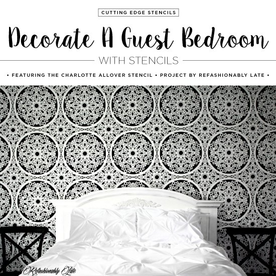 decorate a guest bedroom with stencils, bedroom ideas, painting, wall decor