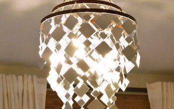 the sunshower chandelier, bedroom ideas, diy, how to, lighting, The Sunshower Chandelier made from mirrors