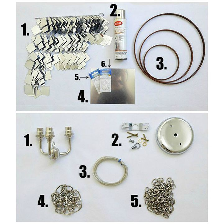Materials to make a mirrored chandelier.