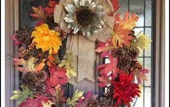 diy fall wreath, crafts, home decor, seasonal holiday decor, thanksgiving decorations, wreaths