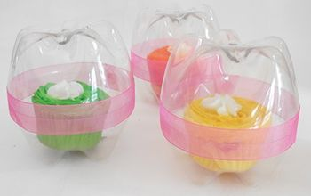 recycled plastic bottle cupcake holders, crafts, repurposing upcycling