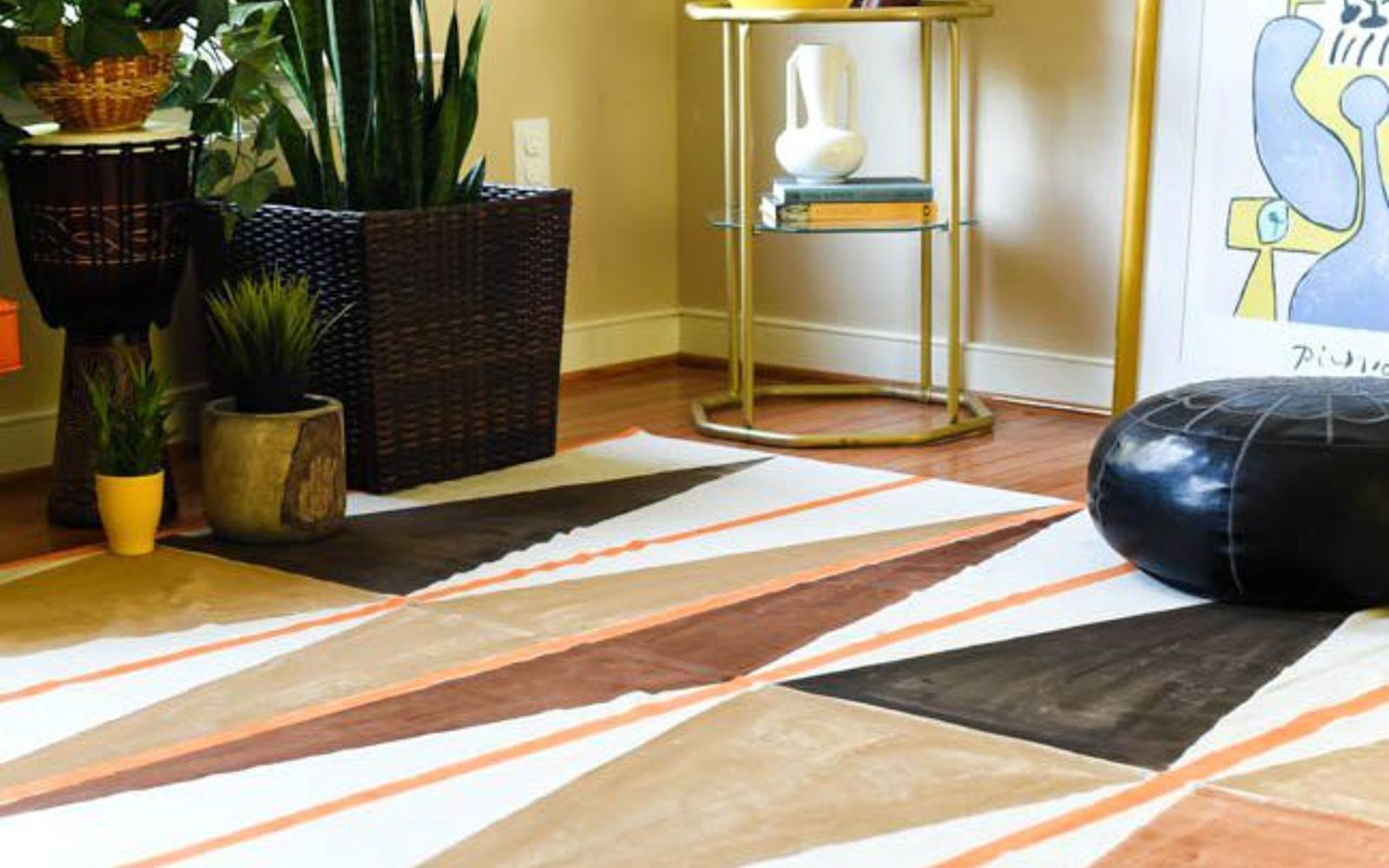 s 11 designer decor looks you can make on the cheap, crafts, home decor, Modern Painted Rug West Elm