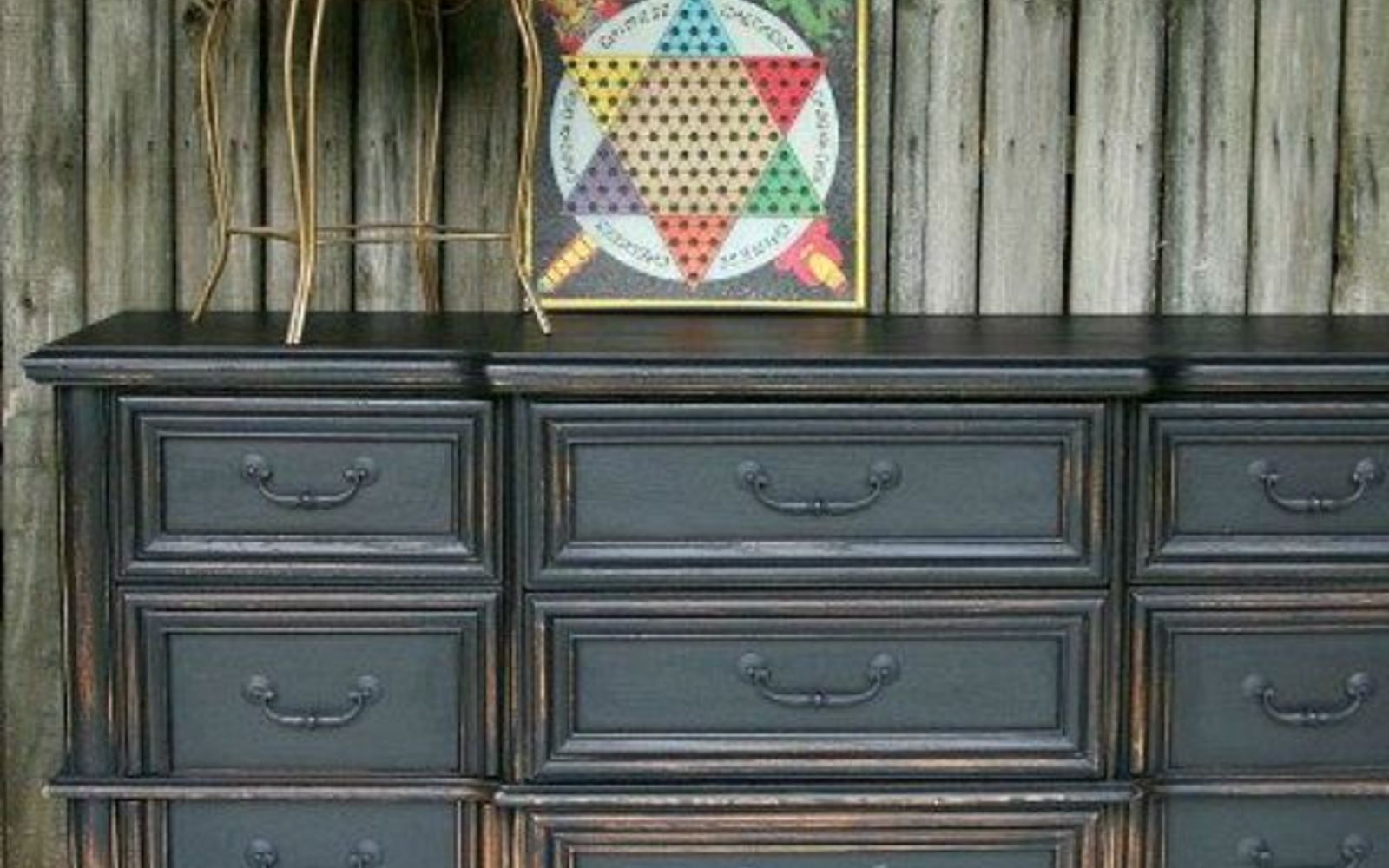 s 11 designer decor looks you can make on the cheap, crafts, home decor, Black Distressed Dresser Pottery Barn