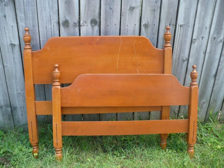 another bench project from an old bed, outdoor furniture, painted furniture, repurposing upcycling