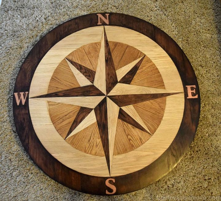 Compass Furniture: DIY Compass Table Made From Wooden Floor Panels