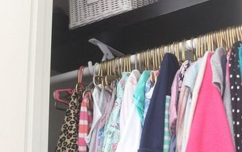 girls closet makeover with gold painted hangers, bedroom ideas, closet, organizing