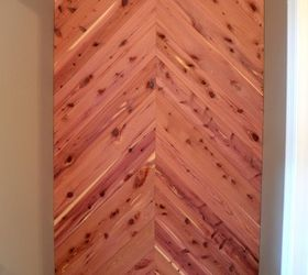 Cedar Planked Herrinbone Bathroom Wall, Bathroom Ideas, Diy, Small Bathroom  Ideas, Wall