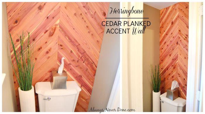 cedar planked herrinbone bathroom wall, bathroom ideas, diy, small bathroom ideas, wall decor, woodworking projects
