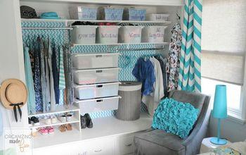 tween girl s closet update in turquoise, bedroom ideas, closet, organizing, shelving ideas