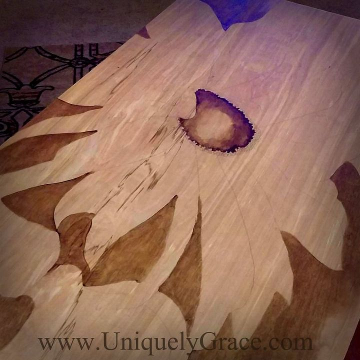 gelato gel stain art a fall patio decor piece on wood, crafts, seasonal holiday decor