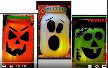 Pickle Jar, Mason Jar, Halloween Luminaries, Ghost, Pumpkin, Frankenst