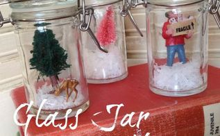 glass jar snow globes with my vintage finds, christmas decorations, crafts