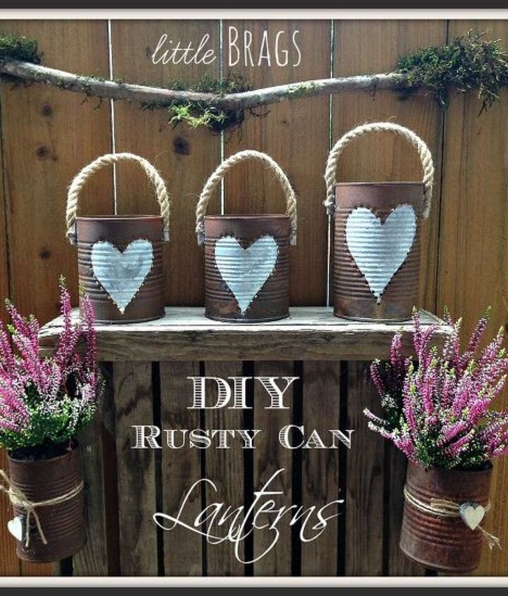 rusty tim can lanterns, container gardening, crafts, gardening