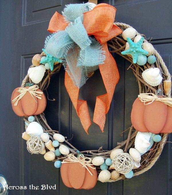 going coastal with fall decor coastal fall wreath, crafts, home decor, seasonal holiday decor, wreaths