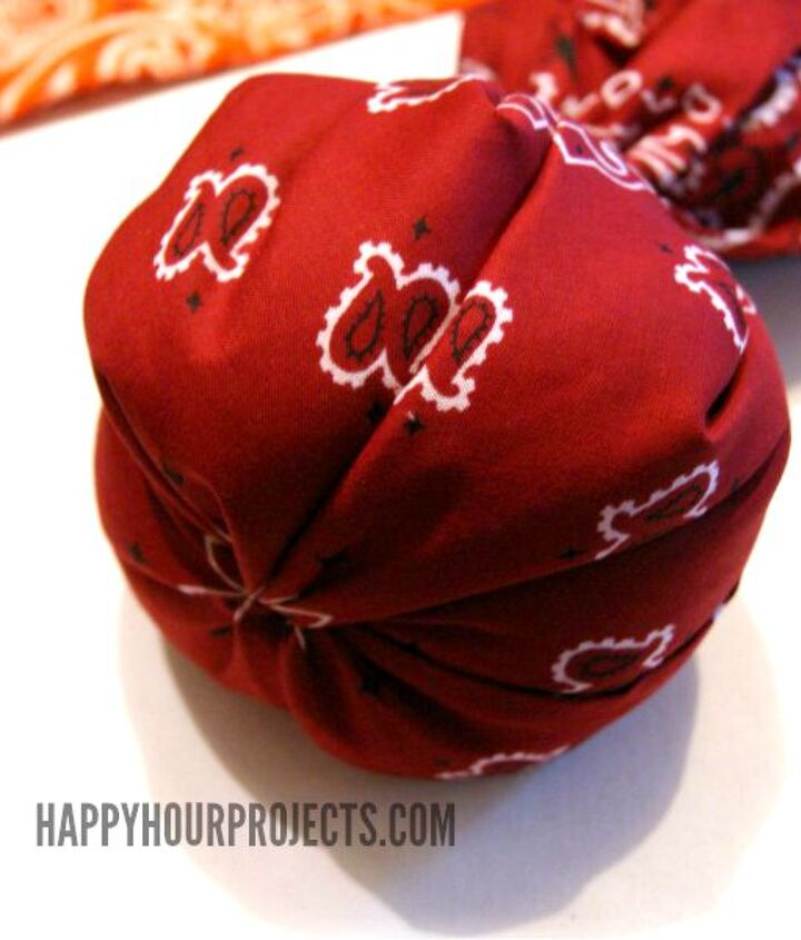 easy no sew bandana pumpkin decoration, crafts, seasonal holiday decor