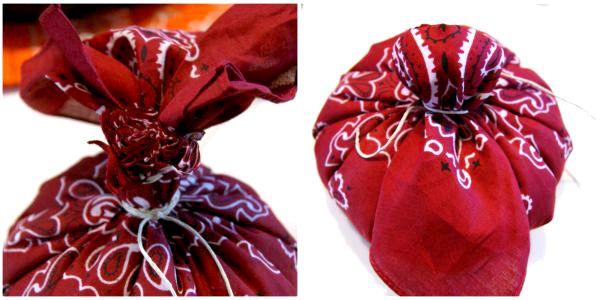 easy no sew bandana pumpkin decoration, crafts, seasonal holiday decor