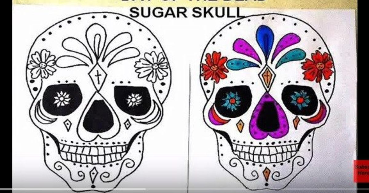 Sugar Skull Coloring Pages and Masks for Día de Muertos | 628x1200