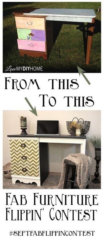 desk flip september fffc geometric design contest, decoupage, painted furniture