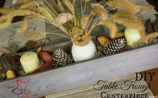 diy table trough centerpiece, diy, seasonal holiday decor, woodworking projects