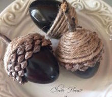 diy fall acorns using plasinc eggs, crafts, repurposing upcycling, seasonal holiday decor