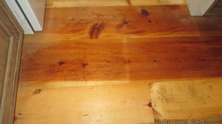 , You can see the difference in grain and color Some of this was antique shelving which actually turned out to be heart pine I might stain a few boards just to even the color out but I m not certain about that I kinda like it