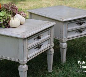 Tag Sale End Tables Refinished in Gray Milk Paint 30DayFlip Hometalk