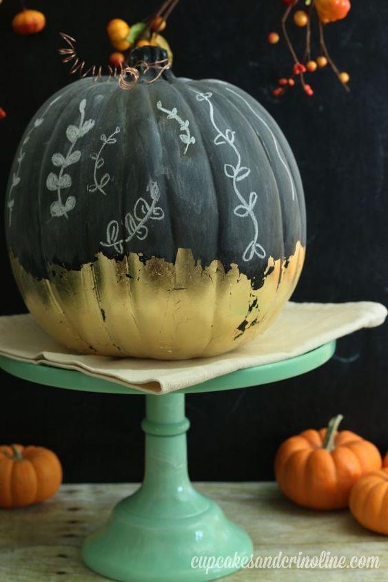 gilded chalkboard pumpkin, chalkboard paint, crafts, seasonal holiday decor