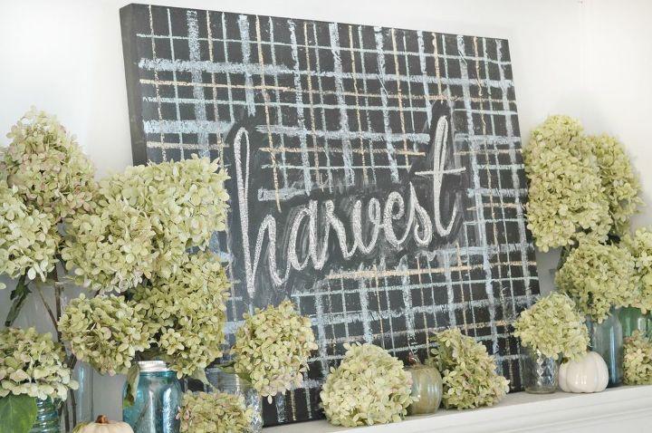 hydrangea harvest mantel, crafts, fireplaces mantels, home decor, hydrangea, seasonal holiday decor