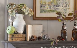 fall mantel decor using vintage and found items, fireplaces mantels, home decor, seasonal holiday decor