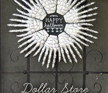 dollar store halloween wreath, crafts, halloween decorations, seasonal holiday decor, wreaths