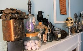 witch spells and potion decor, fireplaces mantels, halloween decorations, seasonal holiday decor