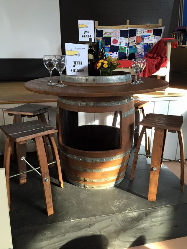 from 2 wine barrels to unique patio set, outdoor furniture, painted furniture, repurposing upcycling