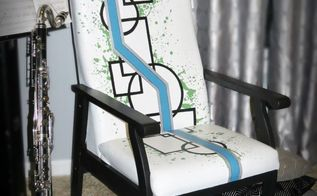 old hotel chair gets geometric makeover septfabflippincontest, painted furniture