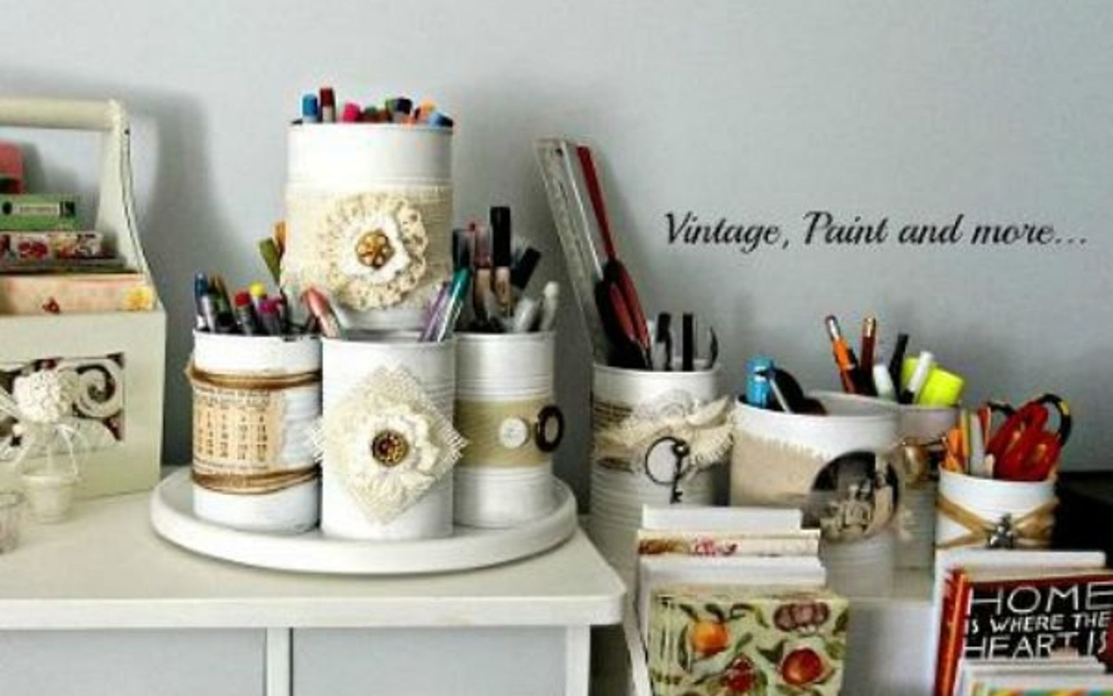s 11 upcycles so simple you ll wonder why you ve never thought of them, crafts, repurposing upcycling, Decorate Tins Cans for Stylish Desk Storage
